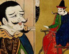 Ilustración de portugueses que trabajan en Japón, capitanes de barcos esclavistas.