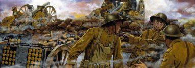 El futuro presidente de EE.UU., Harry Truman, fue capitán de la artillería en Francia en la Primera Guerra Mundial. En este cuadro titulado 'Truman's Battery' de Dominic D'Andrea, 1918, aparece dando instrucciones a las tropas. GETTY IMAGES