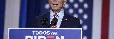 El candidato presidencial demócrata y ex vicepresidente Joe Biden habla en un evento de herencia hispana en Osceola Heritage Park el 15 de septiembre de 2020 en Kissimmee, Florida. Foto Prensa Libre: AFP.