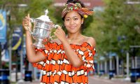 NEW YORK, NEW YORK - SEPTEMBER 13: Naomi Osaka of Japan poses with the US Open trophy the morning after winning the Women's Singles Final on Day Fourteen of the 2020 US Open at the USTA Billie Jean King National Tennis Center on September 13, 2020 in the Queens borough of New York City.   Matthew Stockman/Getty Images/AFP == FOR NEWSPAPERS, INTERNET, TELCOS & TELEVISION USE ONLY ==
