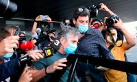 Jorge Messi, father and agent of Lionel Messi arrives at his apartment in Barcelona on September 02, 2020. - Lionel Messi boycotted Barcelona's first pre-season training session on Monday, as the striker upped the stakes in his battle to leave this summer. (Photo by LLUIS GENE / AFP)