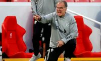 Leeds United's Argentinian head coach Marcelo Bielsa gestures on the touchline during the English Premier League football match between Liverpool and Leeds United at Anfield in Liverpool, north west England on September 12, 2020. (Photo by PHIL NOBLE / POOL / AFP) / RESTRICTED TO EDITORIAL USE. No use with unauthorized audio, video, data, fixture lists, club/league logos or 'live' services. Online in-match use limited to 120 images. An additional 40 images may be used in extra time. No video emulation. Social media in-match use limited to 120 images. An additional 40 images may be used in extra time. No use in betting publications, games or single club/league/player publications. /