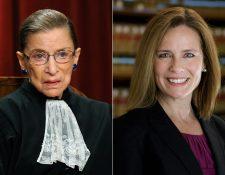 El presidente Donald Trump nombró a Amy Coney Barrett para la Corte Suprema luego de la muerte de la jueza Ruth Ginsburg. (Foto Prensa Libre: AFP)