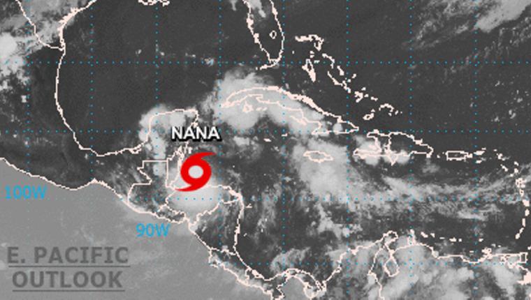 Imagen del Centro Nacional de Huracanes sobre la ubicación de Nana.