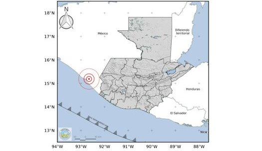 Ubicación del epicentro en México sensible en Guatemala. (Fuente: Insivumeh)