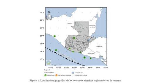 Mapa de sismos registrados el fin de semana. (Foto, Prensa Libre: Insivumeh).
