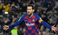 "(FILES) In this file photo taken on March 07, 2020, Barcelona's Argentine forward Lionel Messi celebrates after scoring a goal during the Spanish league football match between FC Barcelona and Real Sociedad at the Camp Nou stadium in Barcelona, Spain. - Lionel Messi said on September 4, 2020 that he will stay at Barcelona, insisting he could never go to court against ""the club of his life"". (Photo by LLUIS GENE / AFP)"