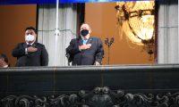 Actividades de Izada de la Bandera en la plaza de la Constituci—n como parte de las celebraciones de independencia de Guatemala, en las que particip— el presidente Giammattei   foto Carlos Hern‡ndez  14/09/2020