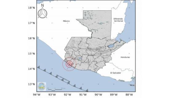 Reportan temblor de magnitud 4.6 en el suroccidente de Guatemala