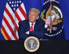 El presidente de EE. UU., Donald Trump, no quiso condenar los actos cometidos por Kyle Rittenhouse, un joven que la semana pasada mató a dos manifestantes en Kenosha, Wisconsin. (Foto Prensa Libre: AFP)