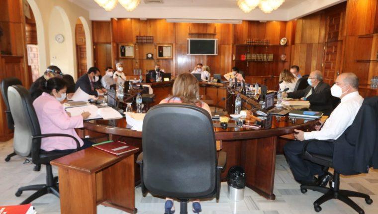 Magistrados de la CSJ sesionan este 23 de septiembre. (Foto Prensa Libre: OJ)