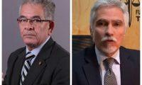 Miguel Ángel Gálvez, izquierda, ordenó al Ministerio Público que inicie una investigación contra Ricardo Méndez-Ruiz, presidente de la Fundación contra el Terrorismo, derecha. (Foto Prensa Libre)