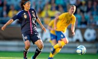 (FILES) In this file photo taken on June 20, 2012 Japan's Yuki Nagasato controls the ball during the three nations women's soccer tournament at Gamla Ullevi stadium in Gothenburg, Sweden. - Japanese women's football great Yuki Nagasato said she was inspired by Megan Rapinoe's fight for equality as she took the highly unusual step of joining a men's team on September 10, 2020. Nagasato, a Women's World Cup-winner in 2011, will play for Hayabusa Eleven, an amateur outfit in her home prefecture of Kanagawa, on loan from Chicago Red Stars in the US professional league. (Photo by BJORN LARSSON ROSVALL / SCANPIX-SWEDEN / AFP)