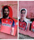 Lionel Messi y Carlos 'el Pescado' Ruiz tienen sus siluetas en El Trébol. (Foto Prensa Libre: Norvin Mendoza)