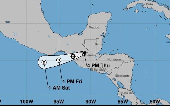 Trayectoria de Nana, degradada a  depresión tropical, según el Centro Nacional de Huracanes de Estados Unidos.
