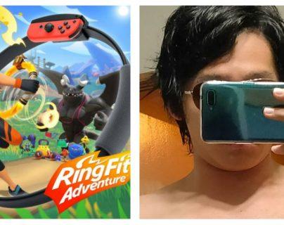 Joven japonés asegura que el videojuego Ring Fit Adventure de Nintendo Switch lo transformó. (Foto Prensa Libre: Twitter)