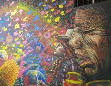 Cada año Samayac en Suchitepéquez recibe a diferentes artistas quienes llenan de color el municipio, a través de sus murales.  (Foto Prensa Libre: cortesía Asociación de Arte y Cultura Tzamyac).