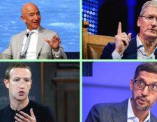 Jeff Bezos, de Amazon; Tim Cook, de Apple; Mark Zuckerberg, de Facebook y Sundar Pichai, de Google, comparecieron en el Congreso para defender sus empresas. GETTY IMAGES/EPA/REUTERS