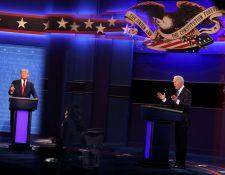 Candidatos Donald Trump y Joe Biden en el tercer y último debate presidencial en Nashville. (Foto Prensa Libre: AFP)