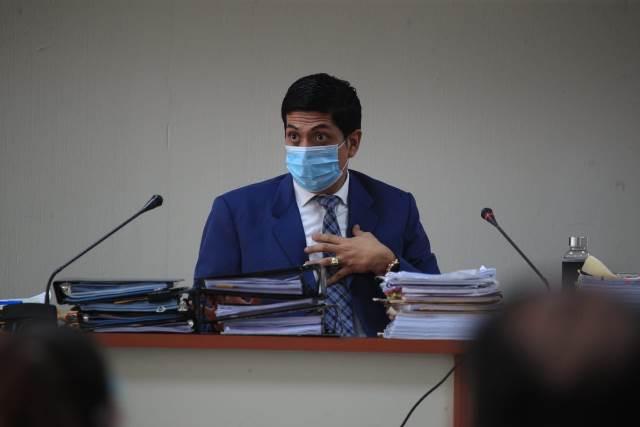 Juez Mynor Moto durante la resolución del caso Libramiento de Chimaltenango. (Foto Prensa Libre: Carlos Hernández)