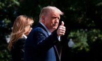 Donald Trump, presidente de Estados Unidos, se prepara para viajar a Carolina del Norte donde se celebrará el primer debate presidencial. (Foto Prensa Libre: AFP)