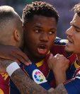 El mediocampista Ansu Fati se convirtió en el jugador más joven en marcar en un clásico español. (Foto Prensa Libre: AFP)