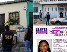 El MP informó que se realizaron varios allanamientos en Villa Nueva en busca de  Karen Elizabeth Barrera Turcios. (Foto, Prensa Libre: MP).
