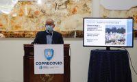 Edwin Asturias, director de la Coprecovid, brinda una conferencia semanal para dar detalles de la evolución de la pandemia. Fotografía Prensa Libre: Fernando Cabrera.