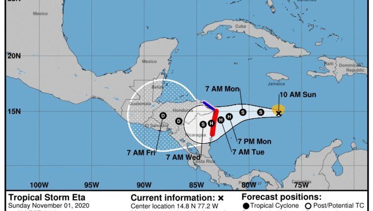 El evento podría ocasionar lluvias en algunos departamentos de Guatemala para el próximo fin de semana. (Foto Prensa Libre: Conred)