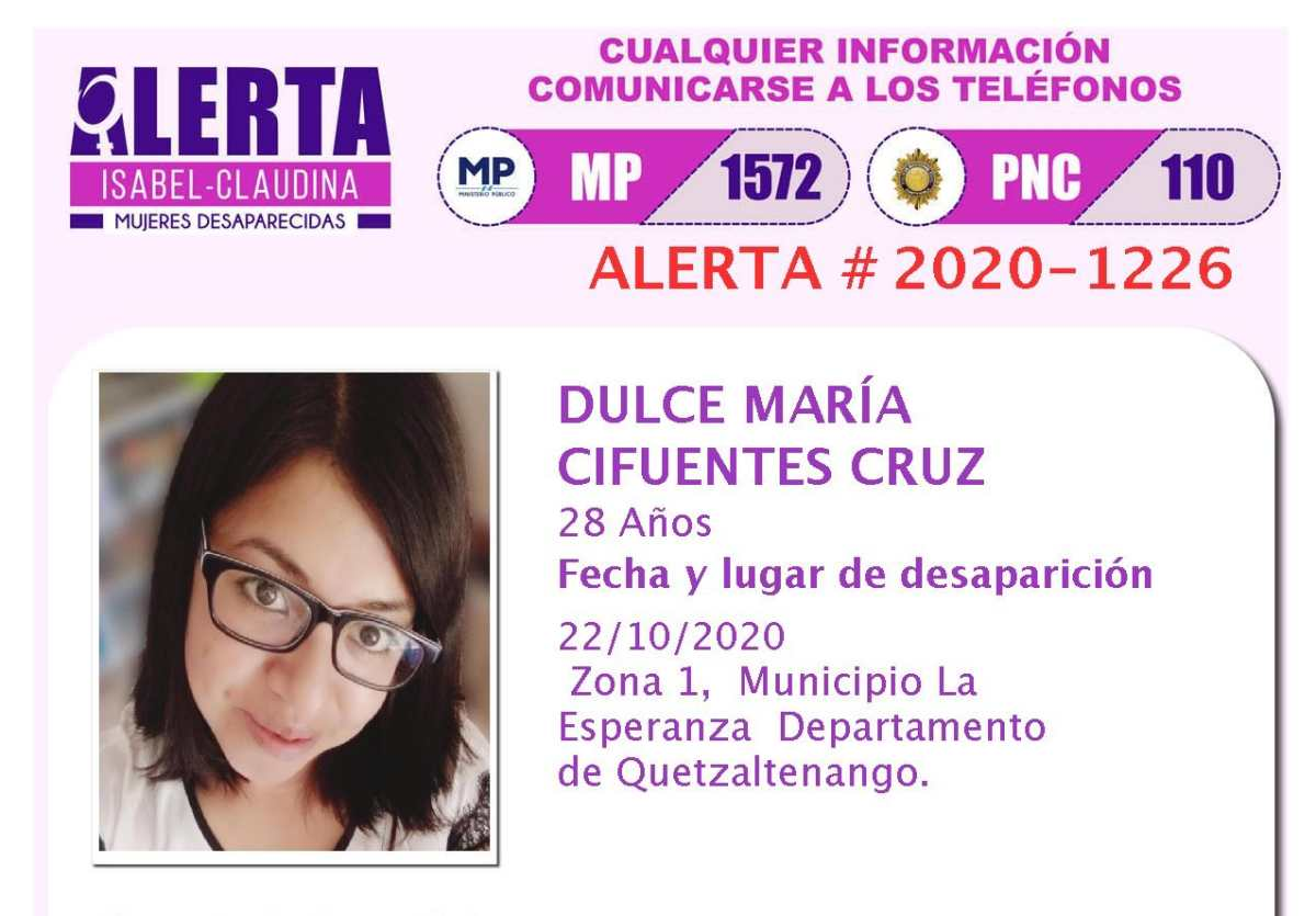 Dulce María Cifuentes Cruz: Inacif revela la causa de la muerte de la joven que tenía alerta Isabel Claudina