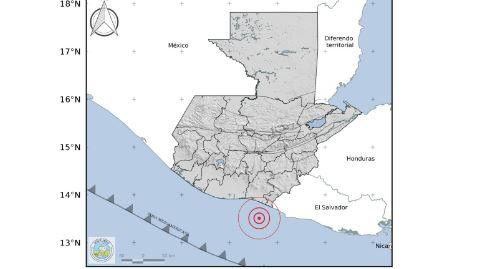 Mapa del sismo de este 29 de octubre en Guatemala. (Foto Prensa Libre: Insivumeh)