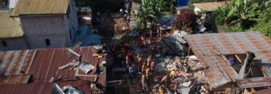 Vista del lugar de la tragedia en San Marcos La Laguna, Sololá. (Foto Prensa Libre: Carlos Hernández)