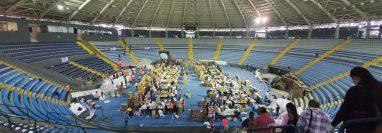 El Domo Polideportivo de la zona 13 es el centro desde el que se distribuirán víveres entre familias económicamente vulnerables. (Foto Prensa Libre: cortesía)