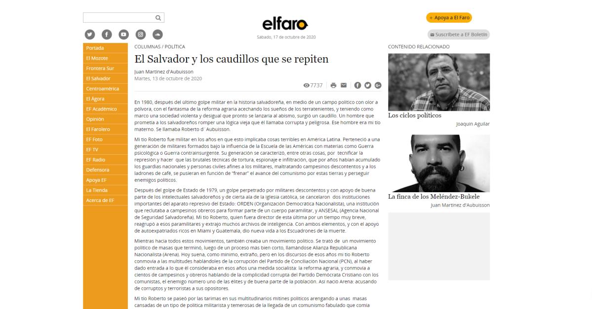 Columnista de periódico digital El Faro de El Salvador denuncia asalto y señala al gobierno