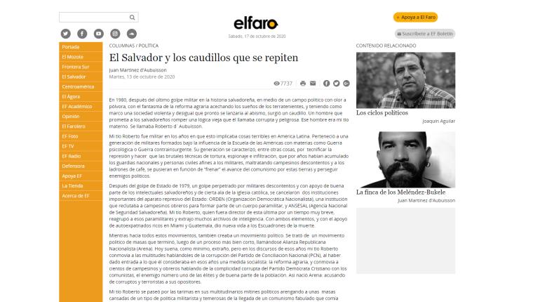 La más reciente publicación de Juan Martínez en El Faro.