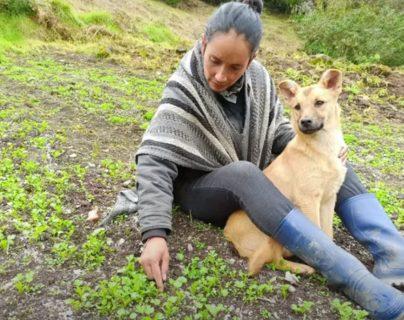 Nubia Gaona, con la perrita Luna, que fue envenenada. (Foto Prensa Libre: YouTube)