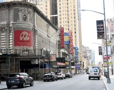 NEW YORK, NEW YORK - APRIL 08: Closed broadway theaters during the coronavirus pandemic on April 08, 2020 in New York City. The Broadway League announced today that theaters will remain closed until June 7, effectively ending the 2019-2020 season.   Jamie McCarthy/Getty Images/AFP
