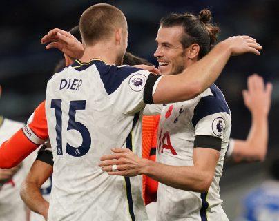 Gareth Bale anotó uno de los dos goles con el que el Tottenham derrotó al Brighton este domingo en la Premier League. (Foto Prensa Libre: EFE)