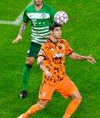 Alvaro Morata en una acción del juego de este 4 de noviembre en Budapest.. Foto Prensa Libre: EFE