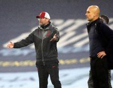 Los equipos de Juergen Klopp y Pep Guardiola dividieron puntos en la Premier League. (Foto Prensa Libre: EFE)