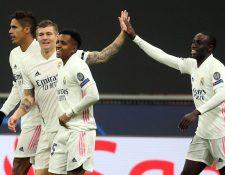 Rodrygo anotó uno de los dos goles del Real Madrid ante el Inter de Milán. Foto Prensa Libre:  EFE.