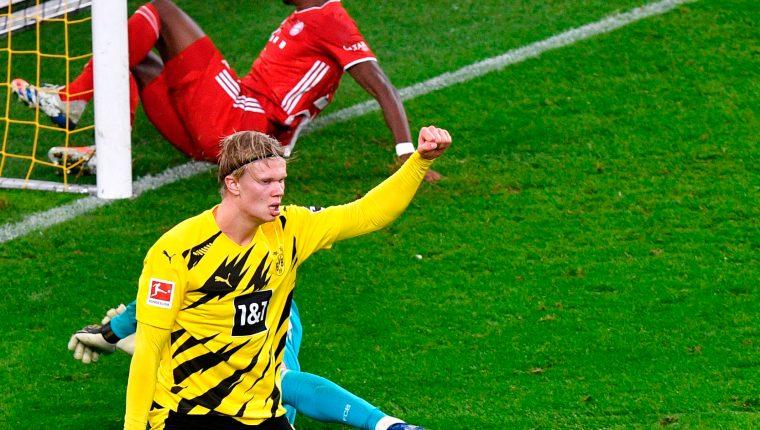 Erling Haaland en la actual temporada de la Bundesliga es el cuarto mejor anotadr con seis goles en seis juegos. Foto Prensa Libre: AFP