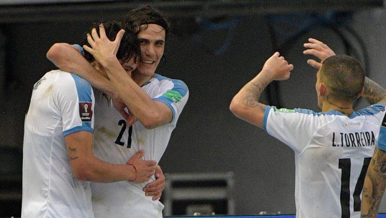 La Selección de Uruguay festejó en Barranquilla, Colombia. (Foto Prensa Libre: AFP)