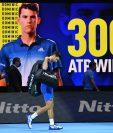 Djokovic, número dos del mundo, cayó ante Dominic Thiem, actual número tres del escalafón de la ATP. (Foto Prensa Libre: AFP)