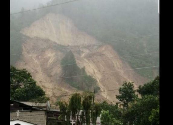 Área del deslizamiento en San Cristóbal Verapaz. (Foto Prensa Libre: Cortesía del alcalde Ovidio Choc Pop)