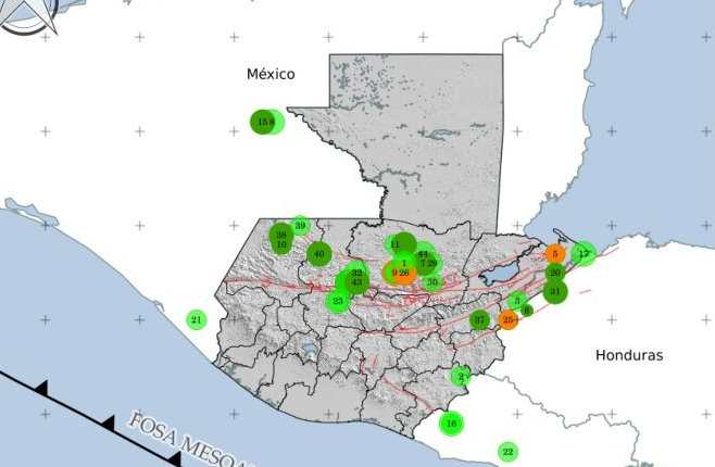 Los temblores se concentran en la Franja Transversal del Norte. (Imagen: Insivumeh)