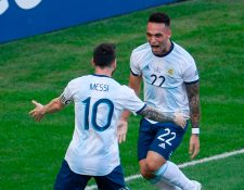 Argentina pone sus esperanzas en Lionel Messi y Lautaro Martínez. (Foto Prensa Libre: AFP)