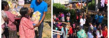 Mario Pacay entregando ayuda en aldeas afectadas por Eta. (Foto Prensa Libre: Facebook Mario Pacay)