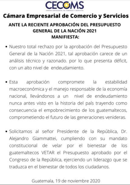 La Cámara Empresarial de Comercio y Servicios emitió un comunicado en rechazo a la aprobación del Presupuesto 2021. (Foto Prensa Libre: CECOMS)