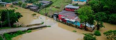 Una de las zonas inundadas en San Pedro Carchá, Alta Verapaz. (Foto Prensa Libre: Hector Sacul)
